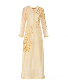 Beige Tunic with Golden Gota Flowers