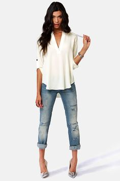 love this ---> V-sionary Ivory Top at Lulus.com!