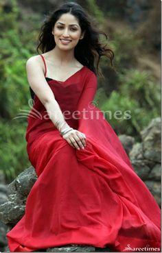 All Red  Sarees  | Yami Gautam in Red Plain Saree | sareetimes