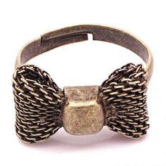Fashion Retro Antique Bronze Vintage Mesh Bowknot Adjustable Ring