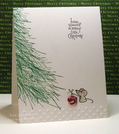 CAS merry little christmas CKM by LilLuvsStampin – Cards and Paper Crafts at Spl Christmas Crafts Pin 🎄 Homemade Christmas Cards, Noel Christmas, Merry Little Christmas, Homemade Cards, Christmas Cards Handmade Kids, Painted Christmas Cards, Simple Christmas Cards, Chrismas Cards, Christmas Movies