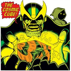 comics borrow heavily from ancient legends - Thanos holds the reality-altering Cosmic Cube containment device (the entity Death (aka Saturn) looks on in the background). Interior artwork from Captain Marvel 28 (Sept. Art by Jim Starlin. Comic Book Artists, Comic Book Characters, Marvel Characters, Comic Character, Comic Books Art, Comic Art, Fictional Characters, Thanos Marvel