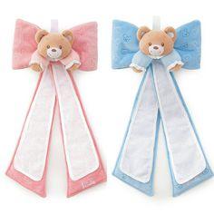 fiocco nascita con orsetto di peluche  rosa o celeste TRUDY con aida ricamabile;