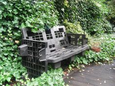 Recycled plastic pallets made into a garden bench
