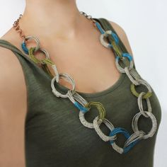 Hemp long necklace olive green and teal hmp necklace fiber Hemp Jewelry, Crystal Jewelry, Jewelry Art, Unique Jewelry, Natural Jewelry, Textiles, Tribal Fashion, Beautiful Gifts, Handmade Art
