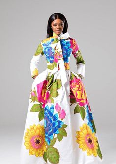 African print dress, African maxi dress, African dress, Ankara dress, Dashiki dress, Womens dress, White dress, Summer dress Cut from authentic African wax fabric, our African print pussy-bow maxi dress is printed with bold colour florals against a white background. The pussy-bow ties at the