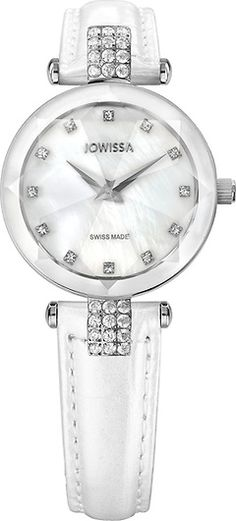 Facet Strass Silver/Mother-of-pearl 25 mm Ladies' Watch Leather White Ladies Watches, Collections, Pearls, Lady, Silver, Leather, Accessories, Women, Rhinestones