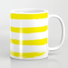 Buy Sunny Yellow STRIPES Handpainted Brushstrokes Coffee Mug by peladesign. Worldwide shipping available at Society6.com. Just one of millions of high quality products available. Yellow Stripes, Meet The Artist, Brush Strokes, Drinkware, Sunnies, Coffee Mugs, Hand Painted, Ceramics, Tableware