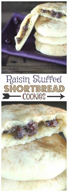 Raisin stuffed shortbread cookies are slightly crisp on the outside and chewy and gooey on the inside. A MUST if you are a raisin fan! via Bread Shortbread Cookies) Carrot Cake Cookies, Sugar Cookies Recipe, Yummy Cookies, Drop Cookies, Raisin Filled Cookie Recipe, Raisin Cookies, Delicious Cookie Recipes, Sweet Recipes, Dessert Recipes