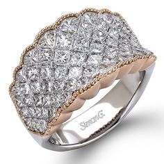 Simon G 3.17 Carats Princess Diamond Fashion Ring in 18K White and Rose Goldhttp://www.bengarelick.com/collections/simon-g/products/simon-g-3-17-carats-princess-diamond-fashion-ring-in-18k-white-and-rose-gold$13,530.00