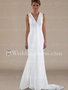 Informal Chiffon V-Neck Sheath Beach Wedding Gown BC144N  #dawnsinvitecontest