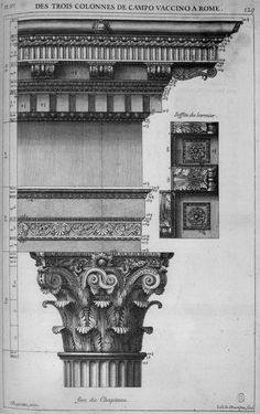 Entablature and capital from the Temple of Castor and Pollux in the Roman Forum, Rome, published by Antoine Desgodets in 1682 his famous book: 'Les Édifices antiques de Rome'