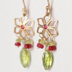 Ruby Dangle Earrings, Gemstone Earring, Red and Green Flowers Earrings, 14K Yellow Gold, Drop Earri