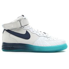 Men's Blue and White Nike Lunar Force 1 High-Top Leather Sneakers