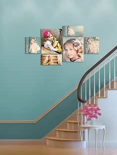 5 beautiful stair room backgrounds  with 20 canvas and 11 different framed groupings to showcase your images for marketing and/or sales to your clients!