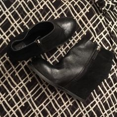 Dolce Vita Wedge Booties 🌟Priced to sell!!🌟 Half leather, half suede, these booties are gently worn and loved!  4.5 inch wedge heel. No scuff marks, in very good condition! Dolce Vita Shoes Ankle Boots & Booties