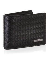 Hugo Boss Woven Leather Small Wallet with Money Clip