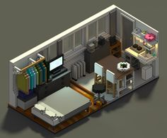 The tiny basement my wife and I live in. First time with Magicavoxel and I love it! Way easier that traditional pixel art. I want to do a larger scene next. Isometric Art, Isometric Design, Low Poly, Cube World, Bedroom Setup, Basement Bedrooms, Basement Ideas, Game Room Design, Modelos 3d