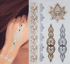 1シート新しいインドアラビアデザインゴールデンシルバーフラッシュ部族ヘナタトゥーペーストmetali金属ボディペイントアートシーツ上のボディハンド