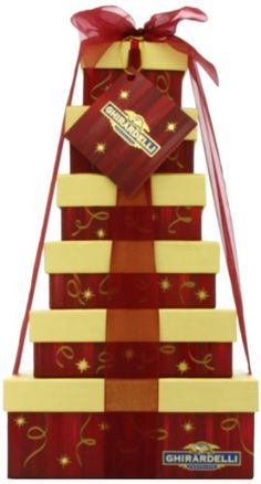 Ghirardelli Holiday Heights Six Tier Gift Tower (bestseller) Holiday Gifts, Holiday Decor, Candy Gifts, Chocolate Gifts, Food Gifts, Gift Baskets, Gourmet Recipes, Gift Wrapping, Fancy