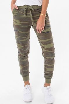 These camo joggers are made for everyday wear. Crafted from Baby French Terry burnout fabric, these joggers feature slanted front pockets, ribbed ankle cuffs and an elasticized drawstring waist. 100% Cotton Runs True to Size Casual Mom Style, My Style, Chill Style, Camo Outfits, Casual Outfits, Camo Jogger Pants, Women's Pants, Joggers Outfit, Trends