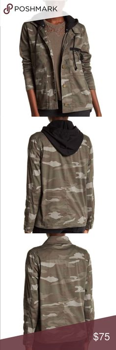 Camo embellished twill jacket Camo embellished twill jacket by Democracy. Size medium and large available. NWT! Perfect jacket to throw on for errands, events, and even going out!   Detachable fleece hood Long sleeves w/ button cuffs  Front button closure 2 front chest pockets Safety pin embellishments  97% cotton, 3% spandex Democracy Jackets & Coats Utility Jackets