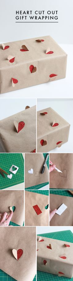 I LOVE THIS. And it's so bloody simple! Heart Cut Out Gift Wrapping. #diy #gift