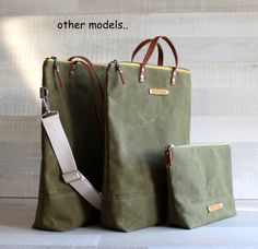 on sale. WAXED CANVAS BAG Comfort UNiSEX Tote Olive by bayanhippo