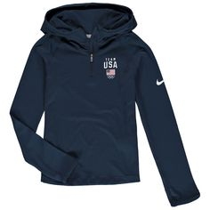 Help your kiddo showcase her love for Team USA with this Element Dri-FIT quarter-zip hoodie from Nike. Usa Swim Team, Team Usa, Team Jackets, Cool Jackets, Sweaters, Usa Swimming, Nikes Girl, Nike Hoodie, Outfits