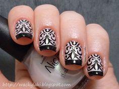Black and white damask nails!
