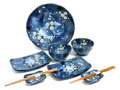MySushiSet - 9 PCS Blue Cherry Blossom Sushi Serving Set