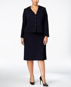 Tahari ASL Plus Size Ruffled Crepe Skirt Suit - Shop All Suits & Suit Separates - Plus Sizes - Macy's