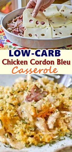 Low-Carb Chicken Cordon Bleu Casserole Recipe Substitute almond or coconut flour in roux and sub crushed pork rinds in topping and it becomes keto friendly! Gourmet Recipes, Low Carb Recipes, Cooking Recipes, Healthy Recipes, Healthy Food, Dinner Recipes, Healthy Vegetables, Paleo Dinner, Ketogenic Recipes