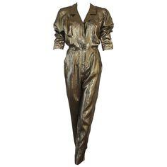 Rare Fendi Sheer Silk Lame Jumpsuit Early 1980's 1