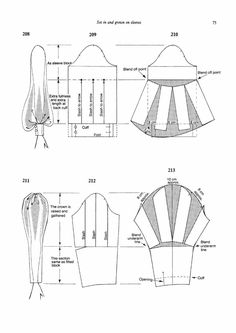 Pattern cutting and making up - Dress sewing patterns - Skirt Patterns Sewing, Clothing Patterns, Pattern Drafting Tutorials, Pattern Sewing, Pattern Draping, Pattern Dress, Sleeve Pattern, Costura Fashion, Sewing Sleeves