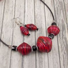 Paper Bead Necklace and Earring Set - Dark Pink and Black with Black Leather…