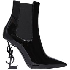 Saint Laurent Women 110mm Opyum Patent Leather Boots ($1,675) ❤ liked on Polyvore featuring shoes, boots, black, black patent boots, patent boots, black high heel boots, elastic shoes and leather sole shoes