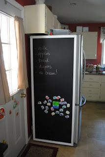 Another project involving chalkboard paint. I know, you& SHOCKED! I& totally admit it, I& hooked on this stuff. My family teases and says if they stand still long enough, I will paint them. Chalkboard Fridge, Chalkboard Paint, Summer Crafts, Crafts For Kids, Decor Interior Design, Interior Decorating, Fridge Decor, U Shaped Kitchen, Craft Organization