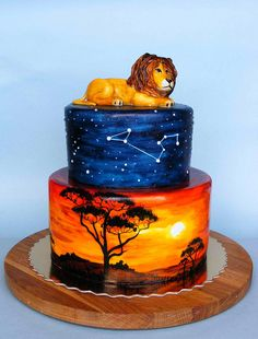 Lion King cake - I took one look at this, and now The Lion Sleeps Tonight is stuck in my head. #thanks