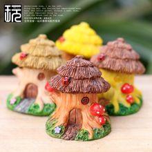 Resina de la artesanía bosque casa del árbol de setas modelo de hadas del jardín miniatura terrario / de escritorio en casa / Micro musgo paisaje decoración(China (Mainland))