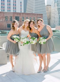Elegant gray bridesmaid dresses: http://www.stylemepretty.com/2016/06/08/two-pilots-tied-the-knot-with-an-urban-chic-wedding/ | Photography: Jose Villa - http://josevilla.com/
