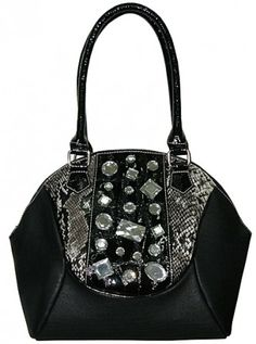 Front rhinestone decoration Snake print front trim Fully lined interior Inner open pocket Inner side wall zipped pocket