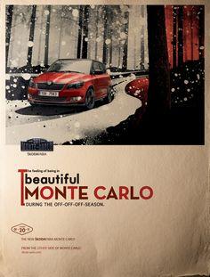Like this kind of marketing. Vw Group, Skoda Fabia, Monte Carlo, Vintage Ads, Transportation, Art Photography, Advertising, Cars, Feelings