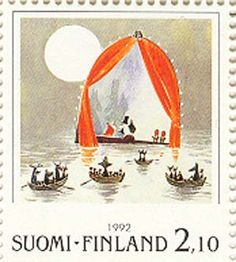 Picture of FINLAND - CIRCA A stamp printed in Finland shows Moomin Cartoon Characters, by Tove Jansson: Boats in water, circa 1992 stock photo, images and stock photography. Tove Jansson, Moomin Cartoon, Rare Stamps, Postage Stamp Art, Stamp Printing, Mail Art, Stamp Collecting, Photo Illustration, Marimekko