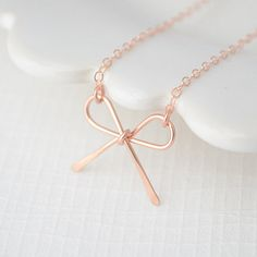 Rose Gold Bow Necklace from Olive Yew!