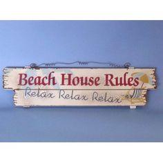 Beach House Rules. Wooden Nautical Beach Sign