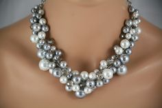 Gray, pewter and white bridesmaids chunky necklace- wedding jewelry,  statement necklace,  bridal party jewelry. $29.00, via Etsy.