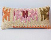 10x20 pink orange cream vintage pillow kilim southwest pillow cover vintage sofa pillow case decorative throw tribal cushion cover turkish
