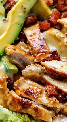 Honey Mustard Chicken Salad With Bacon & Avocado - Cafe Delites Bacon Avocado, Avocado Salat, Bacon Salad, Avocado Recipes, Healthy Recipes, Easy Recipes, Honey Mustard Chicken, Chicken Salad Recipes, Soup And Salad