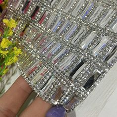 Online Shop Glass Rhinestone Trim Crystal Beaded Applique Hotfix Iron On Strass Mesh Banding In Roll DIY Car Decoration Sticker Glamour Decor, Mirror Tiles, Mirrors, Mirror Mosaic, Mosaic Glass, Dollar Tree Decor, Mesh Band, Decorated Shoes, Rhinestone Appliques